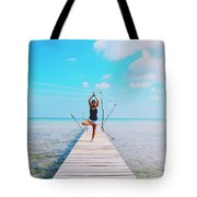 Hot Girl In White Jeans Doing Yoga On The Wooden Pier By The Sea Tote Bag