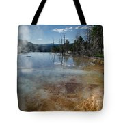 Hot Mammoth Springs Reflection Tote Bag