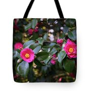 Hot Pink Camellias Glowing In The Shade Tote Bag