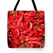 Hot Red Peppers In The Summer Sun Tote Bag