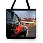 Hot Rod At The Diner At Sunset Tote Bag