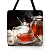 Hot Steaming Tea With Christmas Biscuits Tote Bag