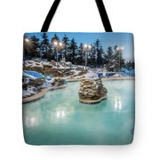 Hot Tubs And Ingound Heated Pool At A Mountain Village In Winter Tote Bag