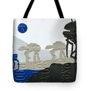 Hoth Star Wars Scene Panorama Made Using Vintage Recycled License Plates On White Wood Plank Tote Bag