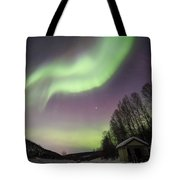 House, Aurora, Night Sky At Alaska, Fairbanks Tote Bag