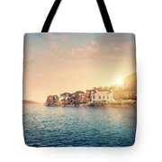 House By A Lake At Sunset Tote Bag