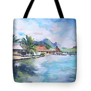 House By The Lagoon In French Polynesia Tote Bag