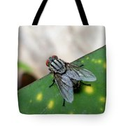 House Fly On Leaf Tote Bag