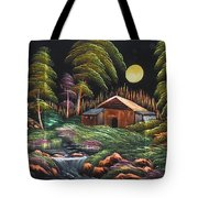 House In Night At Beautiful Site Tote Bag