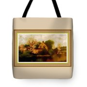 House Near The River. L B With Decorative Ornate Printed Frame. Tote Bag