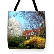 House On The Hill In Spring Tote Bag