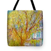 House With White Picket Fence Tote Bag