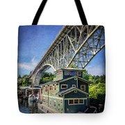 Houseboat And Aurora Bridge Seattle Tote Bag