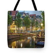 Houses Along Canal At Dusk Tote Bag