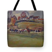 Houses And Cows In Schweiberg Tote Bag