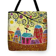Houses Birds And A Tree Tote Bag