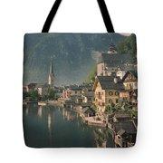 Houses Line The Lake Of Hallstatt Tote Bag
