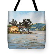 Houses Next To Water Tote Bag