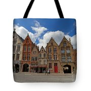 Houses Of Jan Van Eyck Square In Bruges Belgium Tote Bag