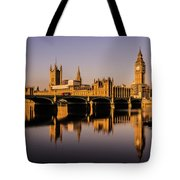 Houses Of Parliament With Westminster Bridge. Tote Bag