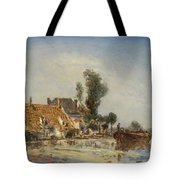 Houses On A Waterway Near Crooswijk Tote Bag