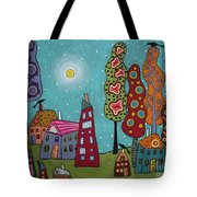 Houses Trees And Birds Tote Bag