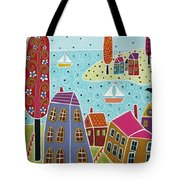 Houses Trees And Sailboats By The Bay Tote Bag