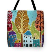 Houses Trees Birds Painting By Karla G Tote Bag