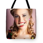 Housewife Doing Cleaning And Pin-up Laundry Chores Tote Bag