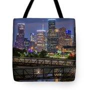 Houston Skyline Over Buffalo Bayou At Twilight Tote Bag