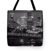 Houston Skyline With Rosemont Bridge In Bw Tote Bag