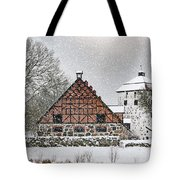 Hovdala Castle Gatehouse And Stables In Winter Tote Bag