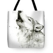 Howling Wolf Watercolor Tote Bag