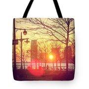 Hudson River Winter Sunset Tote Bag