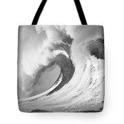 Huge Curling Wave - Bw Tote Bag