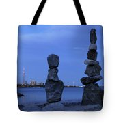 Human Figures Made From Stones At Night Tote Bag