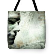 Human Man Face And Dollars Double Exposure. Tote Bag