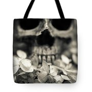 Human Skull Among Flowers Tote Bag