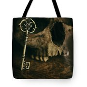 Human Skull With Vintage Key Tote Bag
