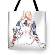 Humility And Strength - Tattooed Nude Tote Bag