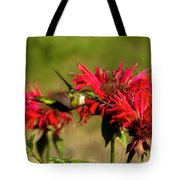 Hummer In The Bee Balm Tote Bag