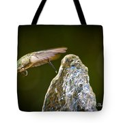 Humming Bird Hovering Over Water Fountain Getting A Drink Tote Bag
