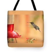 Hummingbird And Feeder Tote Bag