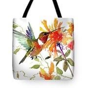 Hummingbird And Orange Flowers Tote Bag