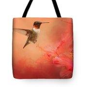 Hummingbird And Peach Hibiscus Tote Bag