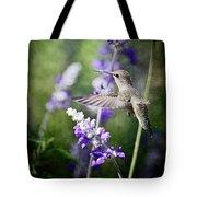 Hummingbird And Purple Lupine  Tote Bag