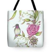 Hummingbird And Rose Tote Bag