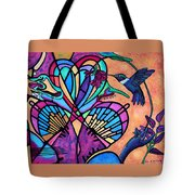 Hummingbird And Stained Glass Hearts Tote Bag