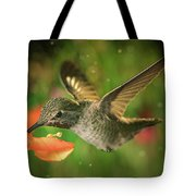 Hummingbird And The Monkey Flowers Tote Bag