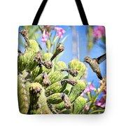 Hummingbird And The Saguaro  Tote Bag